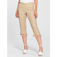 V by Very Petite Tassel Trim Crop Linen Trouser - Sand, Sand, Size 8, Women