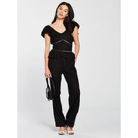 V by Very Frill Detail Linen Jumpsuit - Black, Black, Size 16, Women
