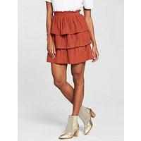 V by Very Ruffle Linen Mix Mini Skirt - Rust, Rust, Size 14, Women