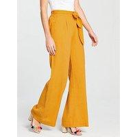 V by Very Wide Leg Linen Trouser - Mustard, Mustard, Size 12, Women
