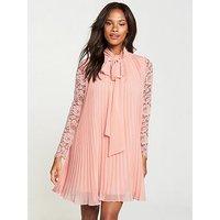 V by Very Pussybow Lace Dress - Blush, Blush, Size 8, Women