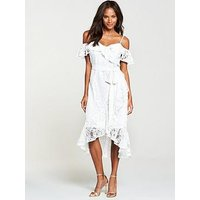 V By Very Lace Cold Shoulder Dress - White