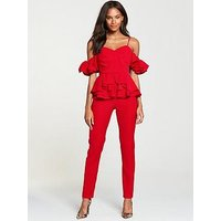 V by Very Ruffle Jumpsuit - Red, Red, Size 12, Women