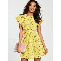 V by Very Twist Front Skater Dress - Yellow , Floral, Size 18, Women