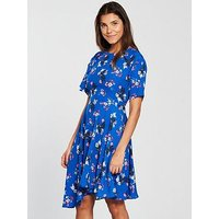 V by Very Floral Printed Midi Dress - Blue, Blue Print, Size 14, Women