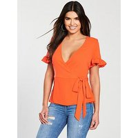 V by Very Frill Sleeve Wrap Top - Orange, Bright, Size 12, Women