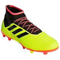 adidas Predator 18.2 Firm Ground Football Boots, Yellow/Black, Size 6, Men