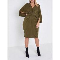 RI Plus Ring Plunge Dress- Khaki, Khaki, Size 26, Women