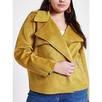RI Plus Faux Suede Trench Jacket- Yellow, Yellow, Size 26, Women