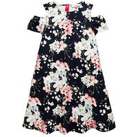 Baker by Ted Baker Girls Blossom Print Cold Shoulder Dress, Navy, Size 7 Years, Women