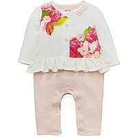 Baker by Ted Baker Baby Girls Floral Print Mock Romper, Off White, Size 12-18 Months
