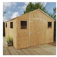 Mercia 12X10Ft Premium Tongue &Amp; Groove Apex Workshop With 6 Windows, Double Door, T&Amp;G Roof &Amp; Floor - Assembly Includ