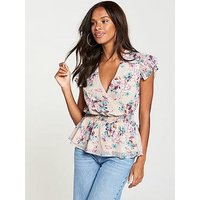V by Very Dobby Print Cut Out Top - Floral Print, Floral, Size 8, Women