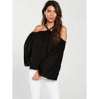 V by Very Multi Strap Halter Neck Top - Black, Black, Size 18, Women