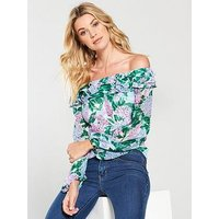 V by Very Frill Neck Top - Print, Print, Size 18, Women