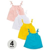 Mini V by Very Girls 4 Pack Strappy Vests, Multi, Size Age: 5-6 Years, Women