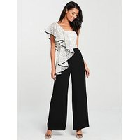 V By Very One Shoulder Lace Frill Jumpsuit - Mono