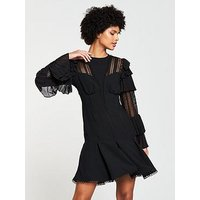 V by Very Lace and Frill Dress - Black, Black, Size 16, Women