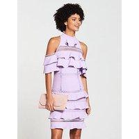 V By Very Lace Trim Cold Shoulder Midi Dress - Lilac