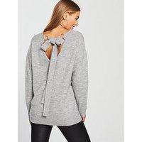 V by Very Scoop Back Metal Ring Tie Detail Jumper - Grey Marl, Grey Marl, Size 18, Women