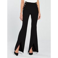 V by Very Split Flare Button Side Trouser - Black, Black, Size 10, Women