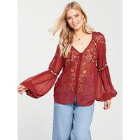 V by Very Embroidered Eyelet Top - Red, Red, Size 18, Women
