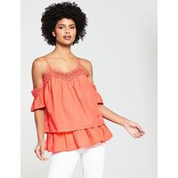 V by Very Crochet Trim Cold Shoulder Top - Coral, Coral, Size 12, Women