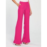 V by Very Slim Leg Frill Hem Flared Trouser - Hot Pink, Hot Pink, Size 10, Women