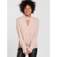 V by Very Fluffy Cable Keyhole Neck Jumper - Soft Pink , Soft Pink, Size 10, Women