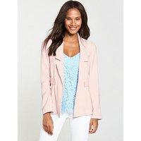 V by Very Soft Button Detail Jacket - Blush, Blush, Size 8, Women
