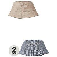 V by Very Boys 2 Pack Sunhats - Blue Stripe/Pink, Multi