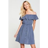 V by Very Washed Frill Day Dress - Denim Blue, Denim Blue, Size 12, Women