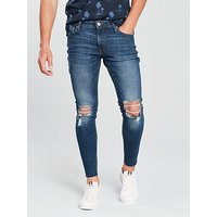 Jack & Jones Jack & Jones Intelligence Rip & Repair Skinny Jeans, Dark Wash, Size 32, Length Long, Men