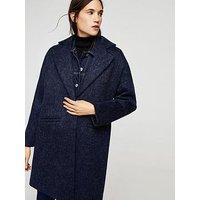 Mango Mohair Wool Blend Coat, Navy, Size L, Women