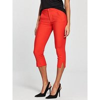 Mango Mango Crop Slim Fit Trouser, Red, Size L=12, Women