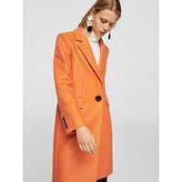 Mango Structured Wool Coat - Orange, Orange, Size L, Women