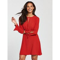 Mango Cut Out Detail Dress - Red, Red, Size Xs, Women