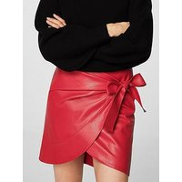 Mango Bow Wrap Skirt - Red, Red, Size L, Women