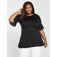 V by Very Curve Chiffon Hem Tunic - Black, Black, Size 16, Women