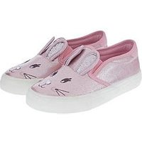 Accessorize Billy Bunny Plimsoll, Pink, Size 2 Older