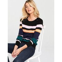 V by Very Button Rib Detail Jumper - Stripe, Stripe, Size 18, Women