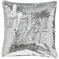 Catherine Lansfield Reverse Sequin Cushion - Silver/White