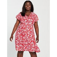 V by Very Curve Ruffle Dress - Floral Print , Print, Size 22, Women
