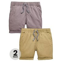 Mini V by Very Boys 2 Pack Pull On Shorts, Grey/Khaki, Size Age: 12-18 Months