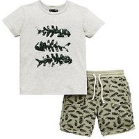 Mini V by Very Toddler Boys 2 Piece Fish Bones T-Shirt and Shorts Set - Multi, Multi, Size Age: 9-12 Months