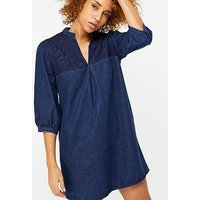 Monsoon Stevie Embroidered Denim Dress, Denim Blue, Size 10, Women