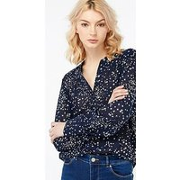 Monsoon Celeste Star Print Shirt, Navy, Size 18, Women