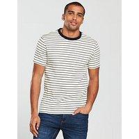 V by Very Textured Stripe Tee, Cream, Size M, Men