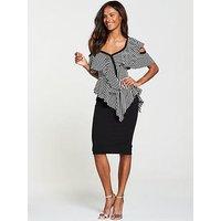 V By Very Cold Shoulder Frill Pencil Dress - Stripe