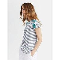 Joules Nessa Print Jersey T-Shirt, Palm Stripe, Size 12, Women